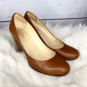 Kate Spade Leather Round Toe Block Heels Pumps